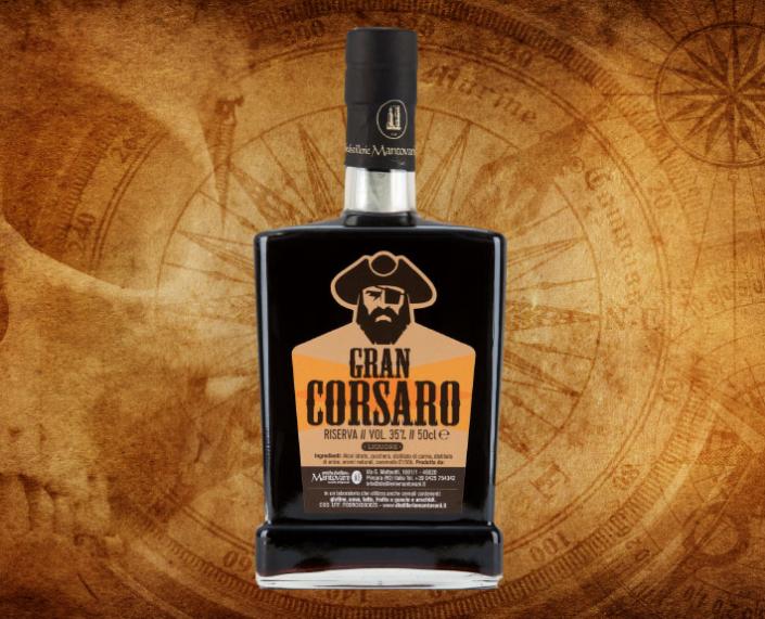 Etichetta per Liquore Gran Corsaro di Antiche Distillerie Mantovani